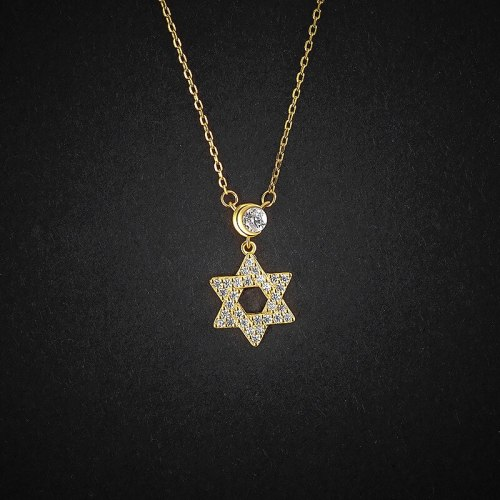 Hexagram Necklace 925 Sterling Silver Women's All-Match Fashion Zircon Ornament Gold Clavicle Chain YA0009A