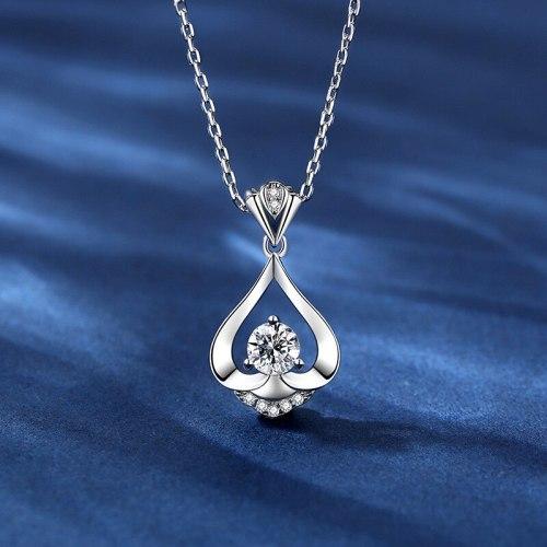 S925 Sterling Silver Smart Flower-De-Luce Water Drop Necklace Versatile Fashion Temperament Clavicle Pendant A263A