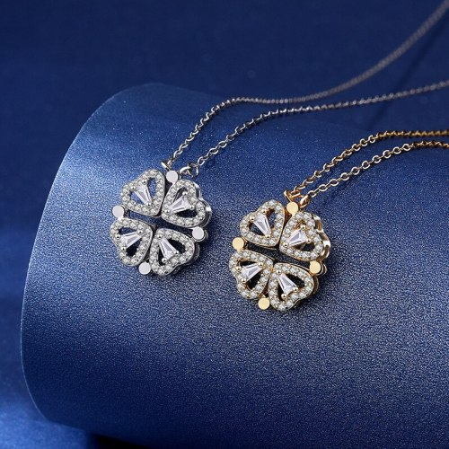 S925 Changeable Sterling Silver Clover Necklace Multiple Ways to Wear Small Heart Clavicle Chain A906A