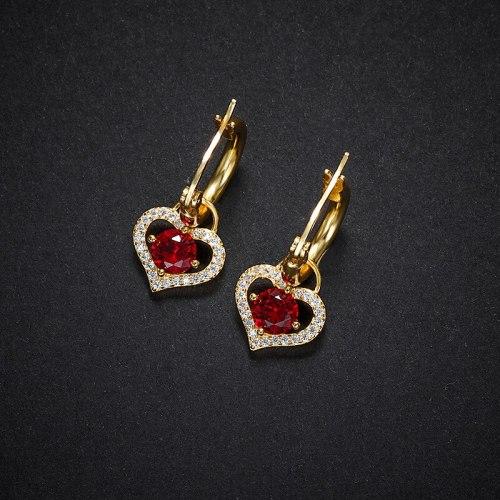 Love Heart Earrings Vintage Red Graceful Geometric Heart Shaped Stud Earrings S925 Sterling Silver Zircon Eardrop Jewelry E074E