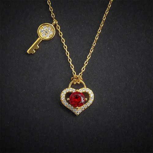 Heart Lock Necklace 925 Loving Heart in Sterling Silver Key Pendant Women's Red Zircon Clavicle Chain A601A
