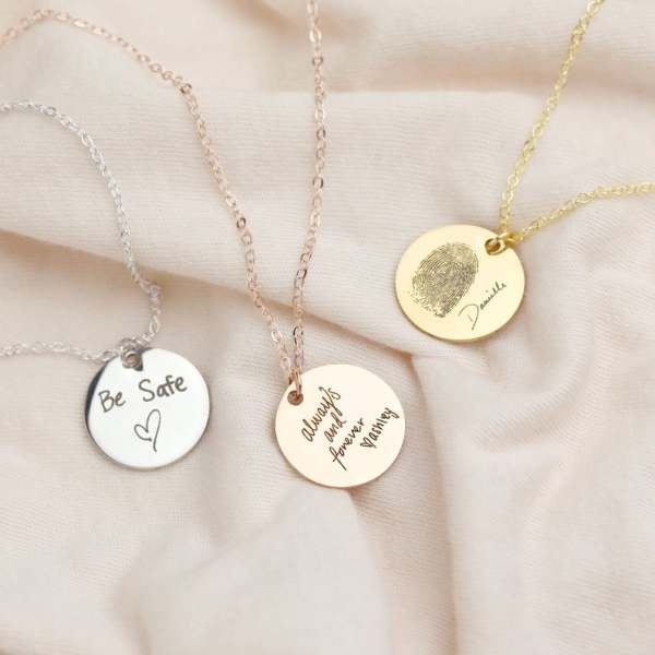 Fingerprint Necklace Actual Handwriting Necklace Custom Handwriting Jewelry Personalized Name Necklace Wedding Gift