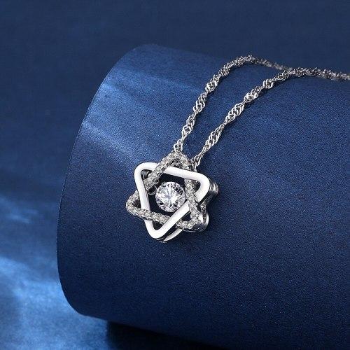 925 Sterling Silver Hexagonal Star Smart Pendant Necklace Moissanite Zircon Women's Pendant Silver Jewelry A692