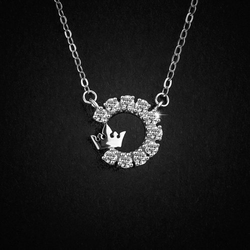 S925 Sterling Silver Crown Necklace Special Interest Light Luxury Flash Micro Inlaid Zircon Ring Clavicle Chain A1383