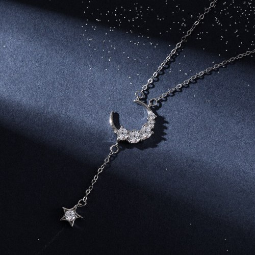 Women's Necklace Niche Design Korean Style Simple Sweater Chain Ins925 Sterling Silver Trendy Star Moon Clavicle Chain A1882