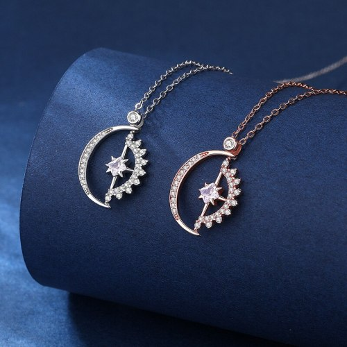 925 Sterling Silver Sun Moon Star Necklace Female Creative Geometric Pendant Light Luxury Clavicle Chain D21052906