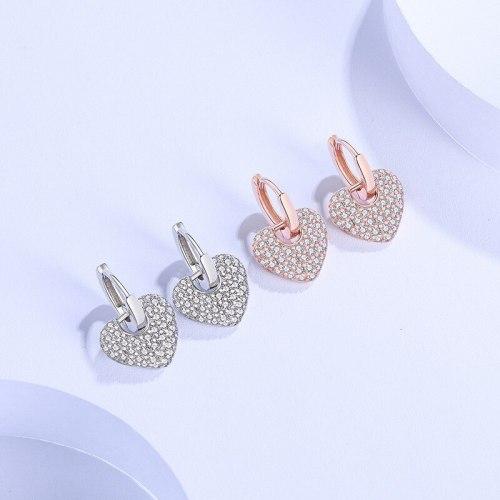 Earrings 925 Sterling Silver Loving Heart Stud Earrings Female Korean Style Inlaid Zircon Heart-Shaped Indie Pop Jewelry E2100