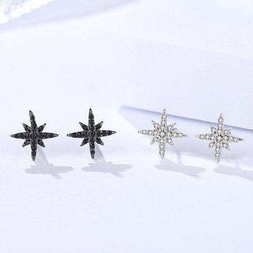 S925 Sterling Silver Earrings Women's XINGX Earrings Diamond Eight Awn Star Earrings Ornament E1321