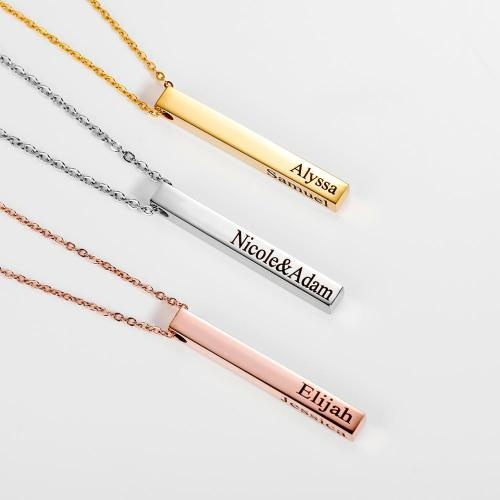 Personalized Necklace Vertical Bar Necklace Friendship Jewelry Graduation Gift Mothers Day Gift Idea Name Necklace women Gift