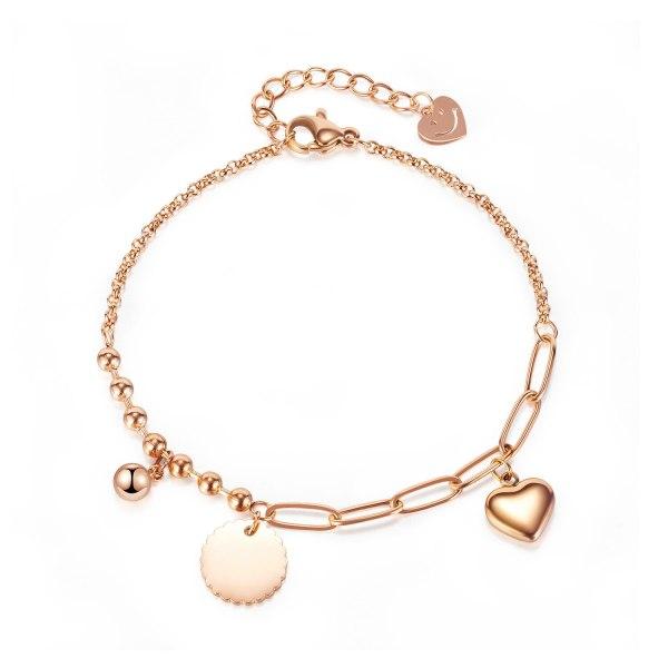 Ornament Titanium Steel Beads Bracelet Japanese and Korean Personality Stitching Chain round Brand Heart Bracelet Women