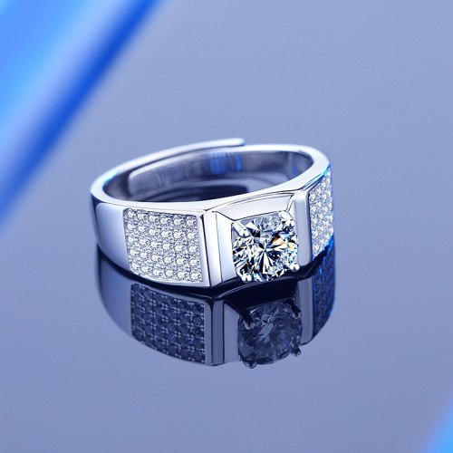 925 Sterling Silver 1 Karat Moissanite Starry Boys Ring Ins Wide Face White Gold Color Open Ring