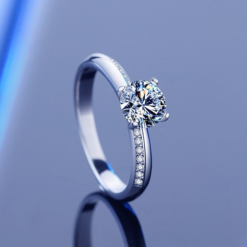 S925 Sterling Silver Moissanite Ring High-End Elegant Closed Four-Claw Diamond Ring Wedding Valentine's Day Gift