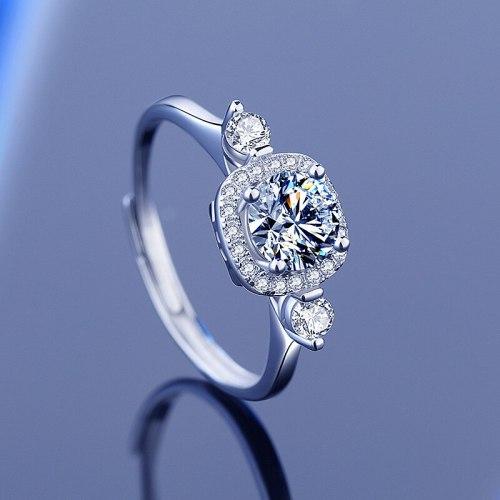S925 Sterling Silver Moissanite Ring 1 Karat Classic Luxury Open Adjustable Qixi Gift Diamond Ring