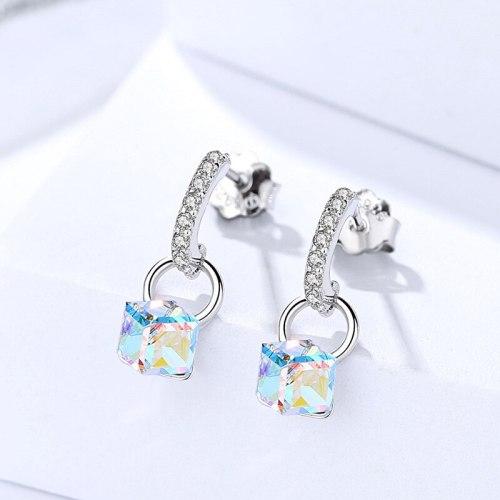 Korean Style S925 Sterling Silver Earrings Crystal Cube Sugar Colorful Earrings for Women