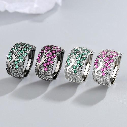Cross-Border Full Zirconium Diamond Plum Blossom Twigs Ring European and American Fashion Black Gold Open Ring