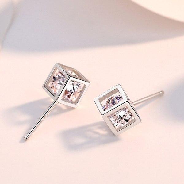 S925 Sterling Silver Ornament Korean Style Zircon Earrings Women's Fashion Square Cube Earrings Can Be Customized