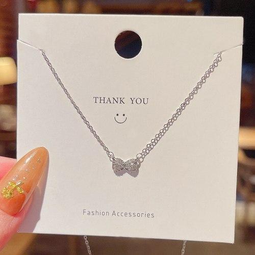 Simple Niche Design Bow Pendant Titanium Steel Necklace for Women Ins Trendy Design Fashion Temperament Clavicle Chain