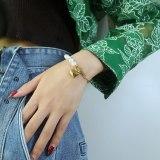 Ornament Korean Ins Love Special-Interest Design Stitching Pearl Bracelet Stainless Steel OT Buckle Bracelet