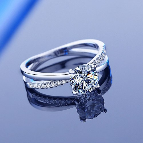 Moissanite Ring Women's 925 Sterling Silver Four-Claw 1 Karat Wedding Valentine's Day Gift