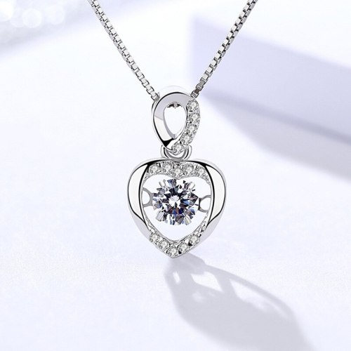 S925 Sterling Silver Necklace Women's Korean-Style Fashion Heart-Shaped Pendant Micro-Inlaid Single Pendant