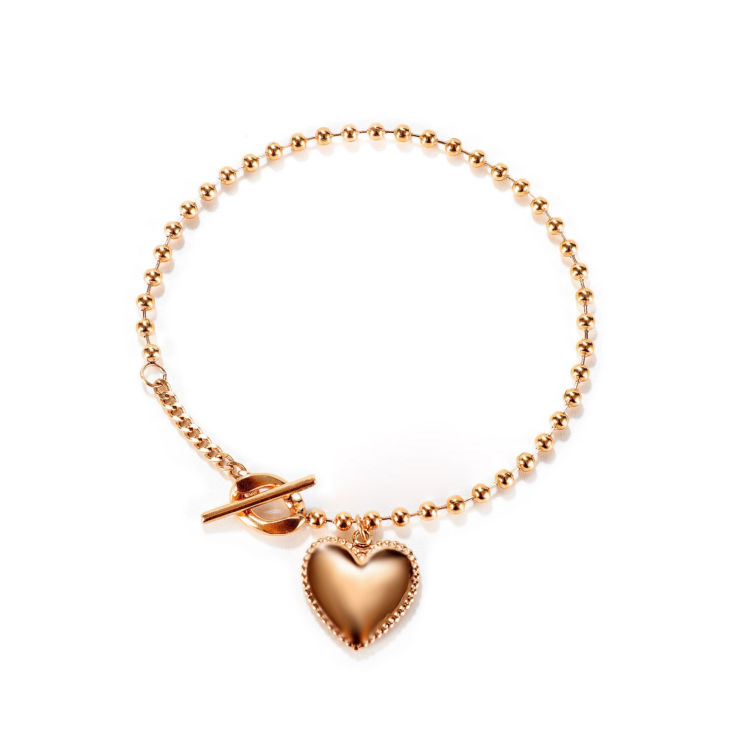 Ornament Japanese and Korean New Fashion Love Pendant Personality All-Match Women's Stainless Steel Bracelet