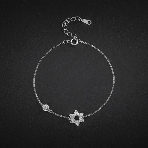 XINGX Bracelet Wholesale New 925 Sterling Silver Women's Korean-Style Simple and Stylish Personality Adjustable Zircon Bracelet