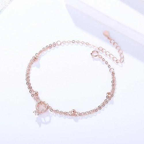 New S925 Sterling Silver Refreshing Ring Bracelet Rose Gold Christmas Gift Cross-Border