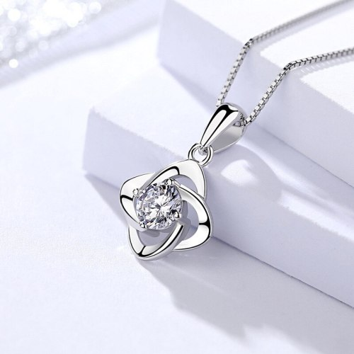 S925 Sterling Silver Clover Necklace Pendant Women's Silver Jewelry Korean Style Zircon Necklace