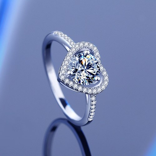 925 Sterling Silver Moissanite Ring Japanese and Korean Trend Proposal Closed Heart Diamond Ring