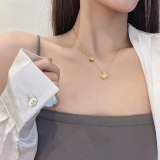 Korean Style New Titanium Steel Butterfly Necklace Frosted Personality Temperament Pendant Women's Summer Simple Fashion Gift