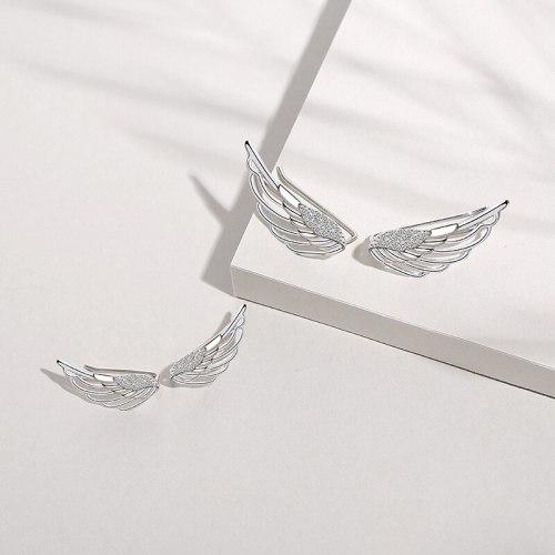 S925 Sterling Silver Ornament European and American Style Non-Piercing Ear Clip Wings U-Shaped Earrings Ear Studs