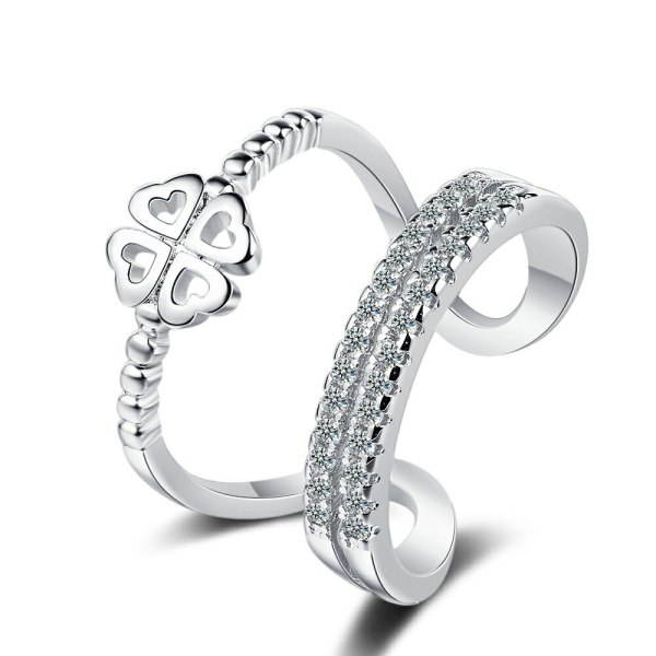 Ring Female Europe and America Artistic Fresh Double Layer Flower Zircon Inlaid Diamond Open Ring Temperament Forefinger Ring