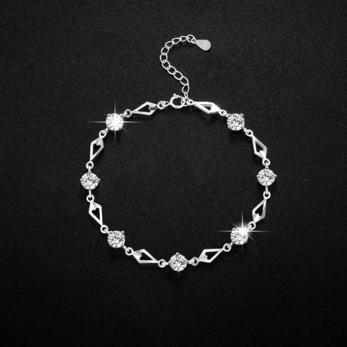 925 Sterling Silver Bracelet Light Luxury Minority Hollow Design Simple Temperament Wholesale Rhombus Inlaid Zircon Bracelet