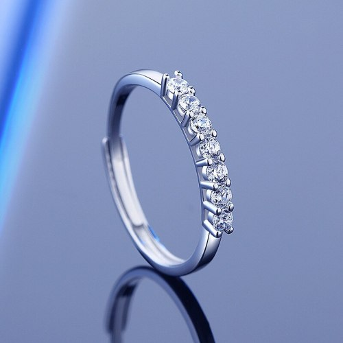 Cross-Border Hot 925 Sterling Silver Moissanite Ring Women's Ins Simple Open Mouth Seven Diamond Stackable Ring Valentine's Day