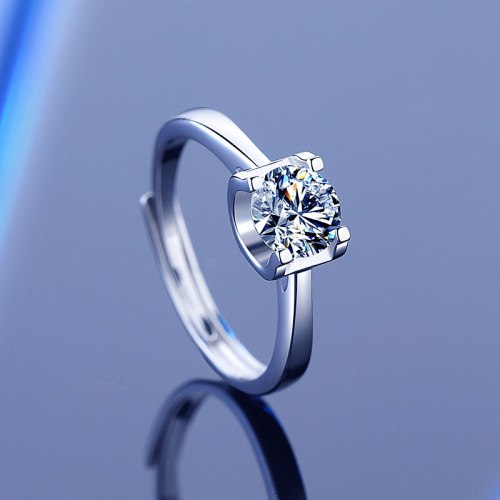 S925 Sterling Silver Moissanite Ring Ins Classic Elegant Graceful Valentine's Day Index Finger Ring Gift
