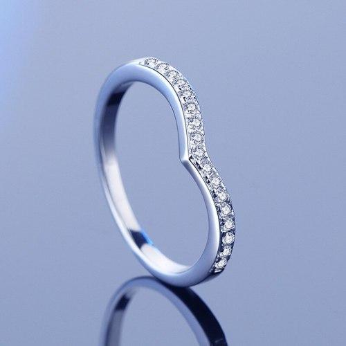 925 Sterling Silver Moissanite Ring Ins Simple Fashion Crown Single Row Diamond Qixi Gift