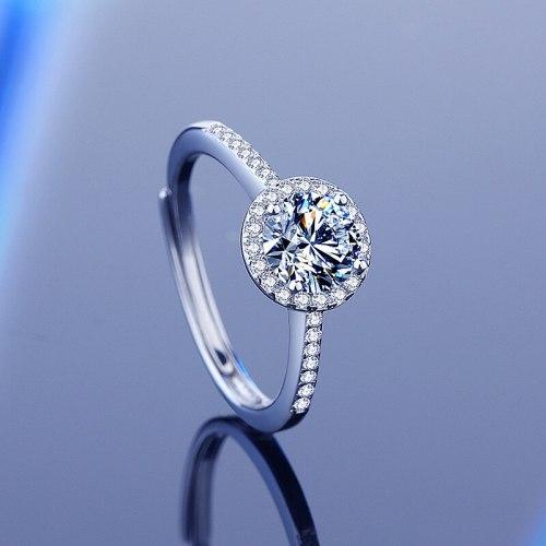 Internet Hot S925 Sterling Silver 1 Karat Moissanite Ring Women's Open White Gold Plated round Ring