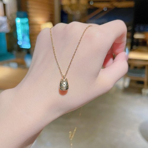 INS Trendy Korean Style Lucky Cat Titanium Steel Necklace Women's Design Sense Valentine Gift Clavicle Chain