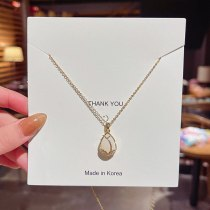 2021summer New Micro-Inlaid Opal Titanium Steel Necklace Ins Trendy Elegant Fashion Clavicle Chain Pendant