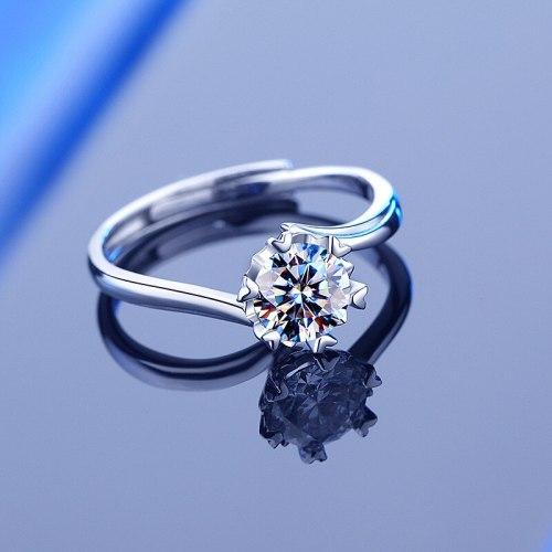S925 Sterling Silver Moissanite Ring Ins Fashion Swing Arm Snowflake Diamond Women's Ring Qixi Gift