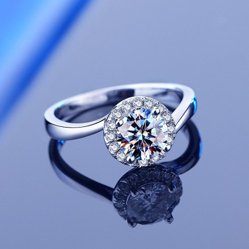 S925 Sterling Silver Proposal 1 Karat Four-Claw Moissanite Ring Women Wholesale