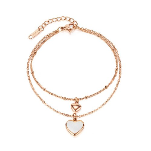 Ornament Korean Fashion Personality Design Heart Shell Double Layer Stainless Steel Bracelet
