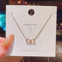 New Fritillary Stitching Geometric Titanium Steel Necklace Female Ins Fashion Design Sense Simple Graceful Clavicle Chain