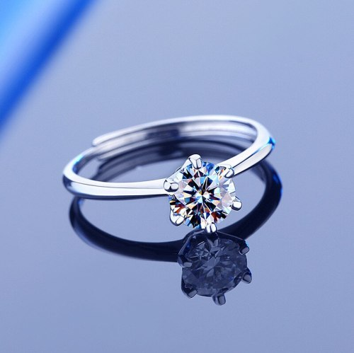 S925 Sterling Silver Moissanite Ring Women's Classic Six-Claw Diamond Adjustable Mouth Proposal Wedding Gift