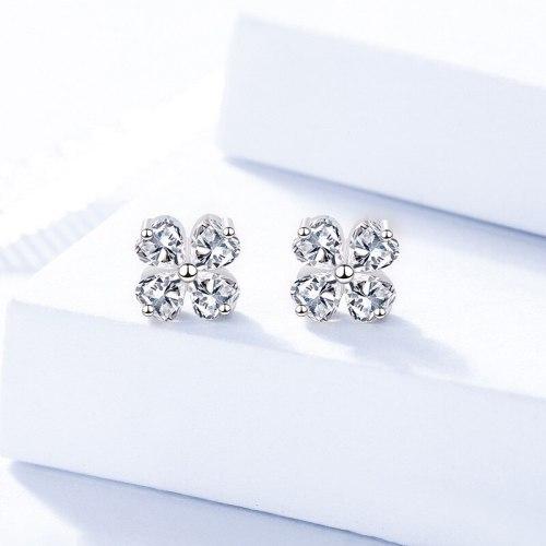 S925 Sterling Silver Ornament Clover Zircon Stud Earrings Niche Design Earrings for Women