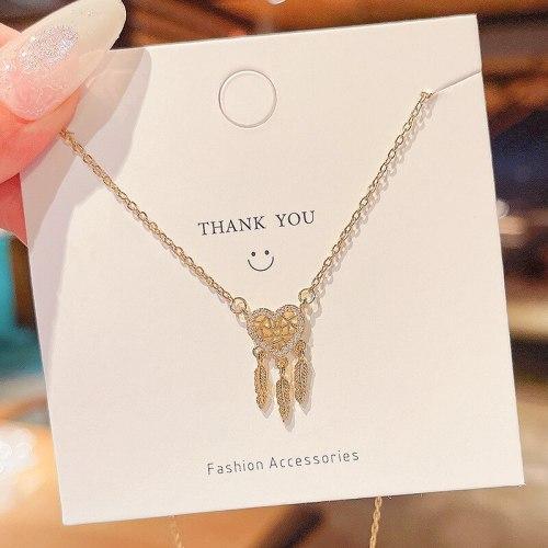 2021 Design Sense Mesh Love Tassel Pendant Titanium Steel Necklace Female Ins Graceful and Fashionable Clavicle Chain