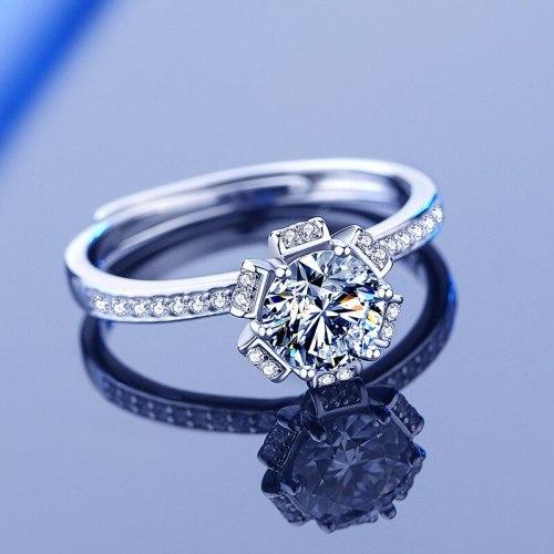 S925 Sterling Silver Moissanite Ring 1 Karat Bridal Bouquet Open Mouth Diamond Ring Proposal Qixi Gift