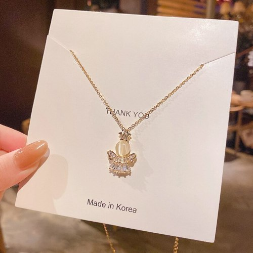 Korean Style Angel Temperament Personality Titanium Steel Necklace Female Ins Temperament Clavicle Chain Jewelry