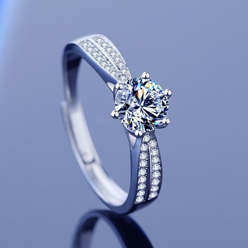 Cross-Border Hot Sale Sterling Silver Six Claw Moissanite Ring Female Ins Internet Celebrity Snowflake Proposal Jewelry