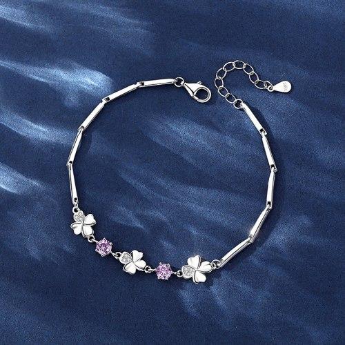 Lucky Four-Leaf Clover Bracelet Female 925 Sterling Silver Special-Interest Design Gift for Girlfriend
